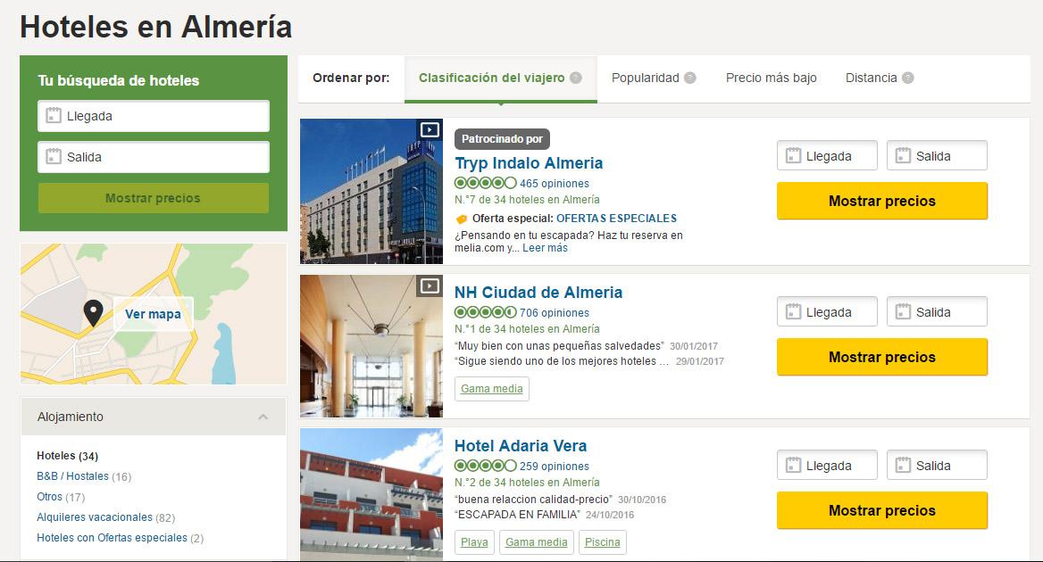 tripadvisor para estrategia de marketing online para hoteles, hostales y casas rurales de almeria